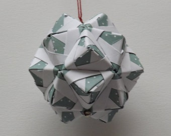 Teel and White Kusudama