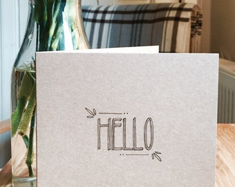 Hello greeting card, typography