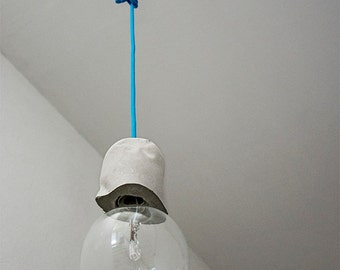 Concrete Pendant Lamp with Concrete Lamp Holder  and fabric cable, Modern Industrial Light in cement