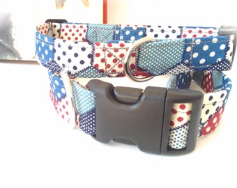 Cottage patchwork dog collar. Go on rock the retro look!