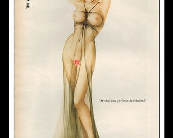 """Vargas Playboy Pinup Girl Vintage April 1976 """"Rise to the Occasion!"""" Sexy Blonde Black Negligee Nude Mature Wall Art Deco Print"""