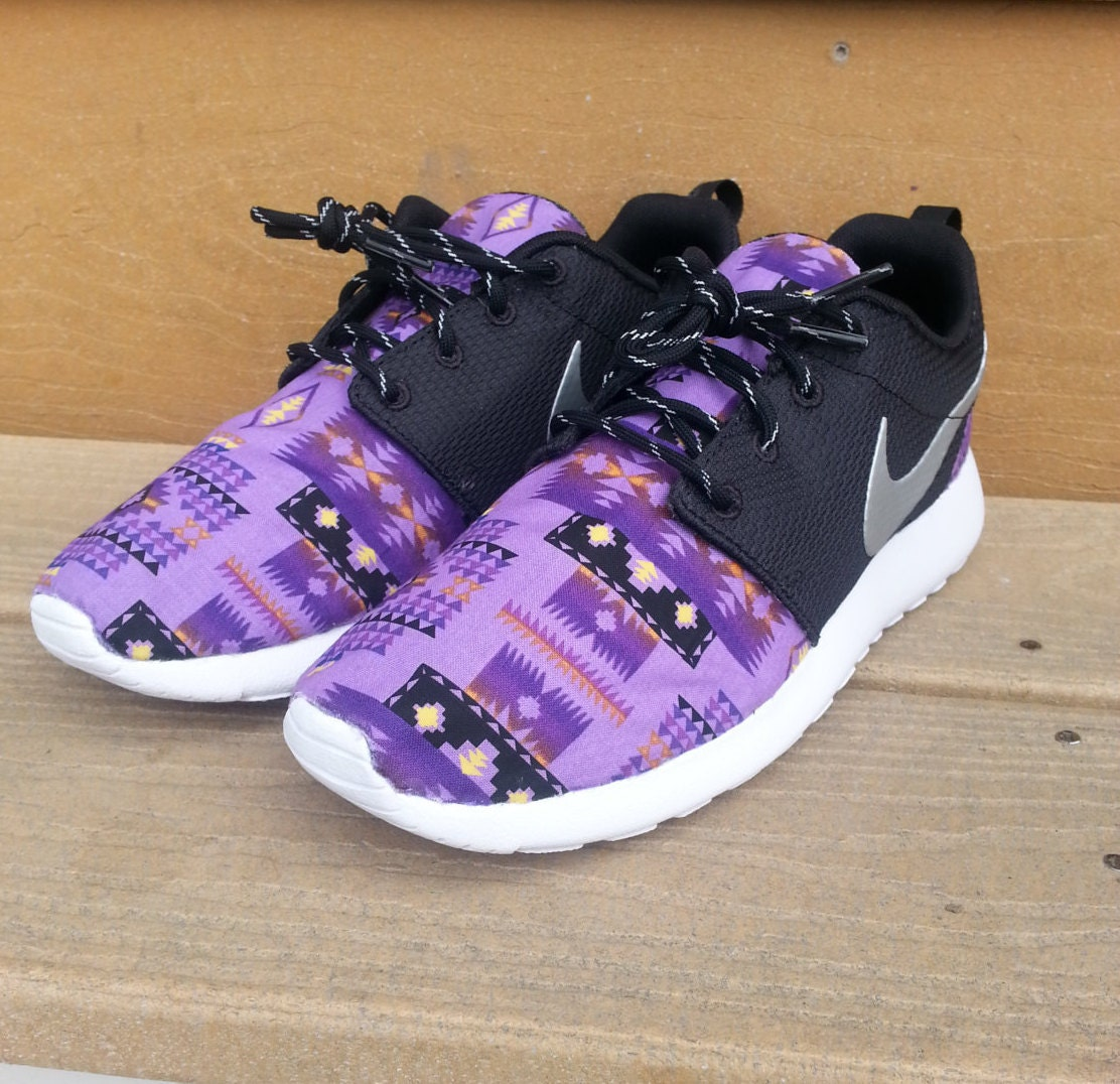 purple tribal aztec custom nike roshe run. Black Bedroom Furniture Sets. Home Design Ideas