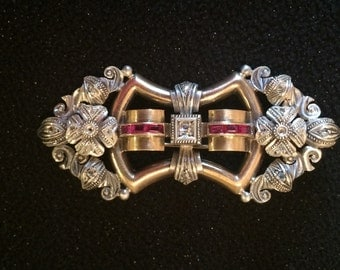 Vintage Edwardian 10K and Silver Diamond and Gemstone Brooch