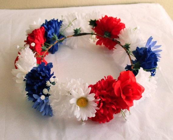 Couronne de fleurs bleu et blanc rouge 4 juillet casque - Fleur bleu blanc rouge ...