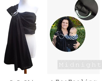 GuGaSling Midnight/Baby sling ring/Baby wrap/Baby carrier/Cotton/Black/Gift bag