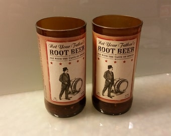 Not Your Father's Root Beer Bottle Drinking Glass Set of 2