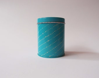 Little light blue can, white dots, diagonal pattern, vintage, retro