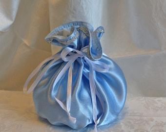 Light blue satin silver ribbon  pompadour purse evening handbag wristlet drawstring reticule