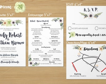 DIY Printable Wedding Invitation Suite - Anemone Collection