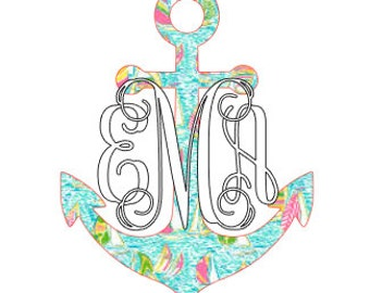Lilly Pulitzer Inspired Anchor with Monogram