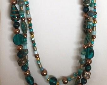 Multi-strand Aqua and Brown Bead Necklace
