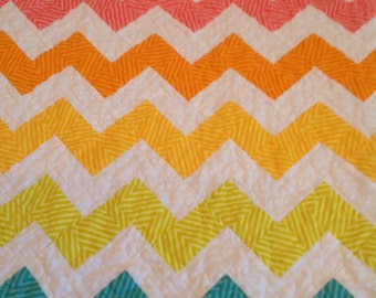 Home Made Quilt -- Colorful Zigzags