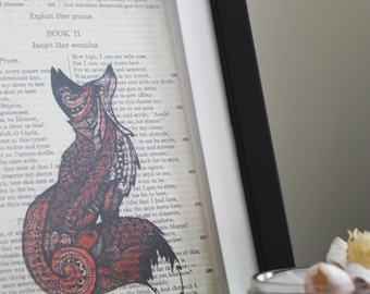Fox - Print of Ink Drawing on Book Page