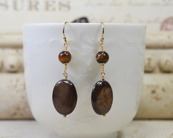 Tiger Eye & MOP Earrings