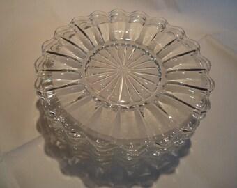 "Set of 8 Heisey Crystolite 8 1/4"" salad/dessert plates"