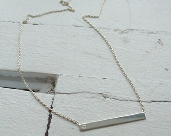 Bar necklace silver sterling and cubic zirconium