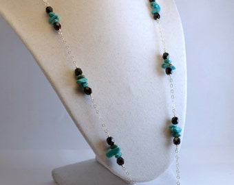 Black and Turquoise Sterling Silver Necklace with Pendant