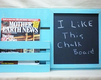 Chalk Board - Message Board - Magazine Holder - Mail Organizer - Wood - Wall Hanging - Mail Holder - Letter Holder - EntryWay Organizer