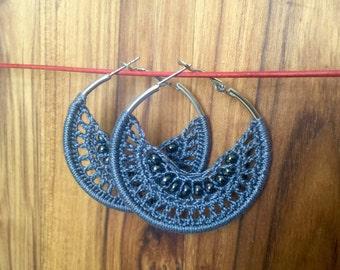 Grey Bohemian Crochet Hoop Earrings