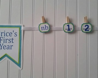 1 Boy Blue  Whale First Year Banner, Boy Year at a Glance Banner, boy Whale First Birthday Banner, Boy blue  Whale  Party Decor