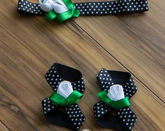 Ribbon Rosebuds for Interchangeable Barefoot Baby Sandals and Matching Ribbon Rosebud Hair / Headband Clip, Customize, Baby Barefoot Sandal