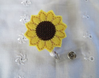 Retractable Felt ID Badge Reel - Sunflower