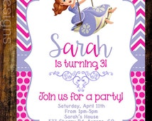 Sophia The First Birthday Invite, 1st Birthday, 2nd Birthday, 3rd Birthday, PRINTABLE