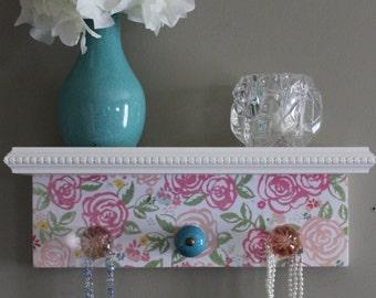 Wall shelf, bedroom shelf, jewelry organizer, key holder for wall, vintage flower pattern, shabby chic, country home decor