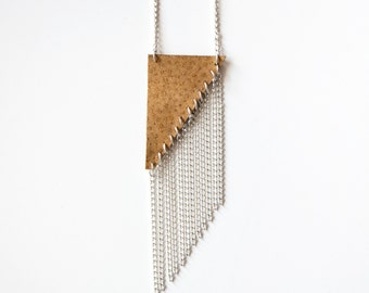 Sienna Necklace // Right Triangle Long Leather Triangle Necklace with Silver Fringe // Layering Necklace // Statement Leather Necklace