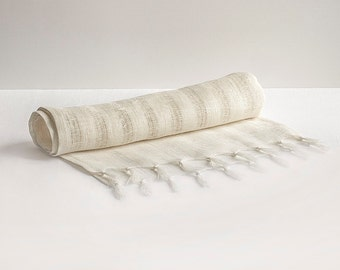 100% Linen Table Runner Natural Organic Eco Flax Light Ivory Rustic Primitive Nature Ethnic Style
