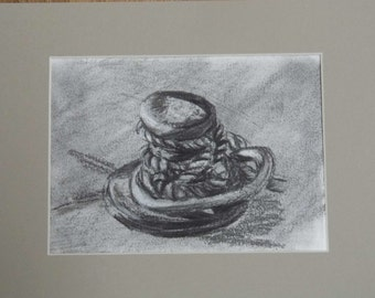 All tied up, original charcoal drawing, mounted artwork