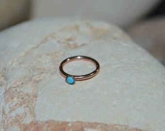 Gold NOSE RING // 2mm Turquoise Nose Ring Hoop 18g - Rook Earring - Cartilage Hoop - Helix Earring - Tragus Jewelry - Conch Earring