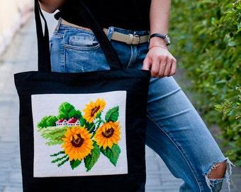 Canvas bag with ukrainian embroidery, black zipper tote bag, bag with sunflowers, ukrainian gift, christmas gift.
