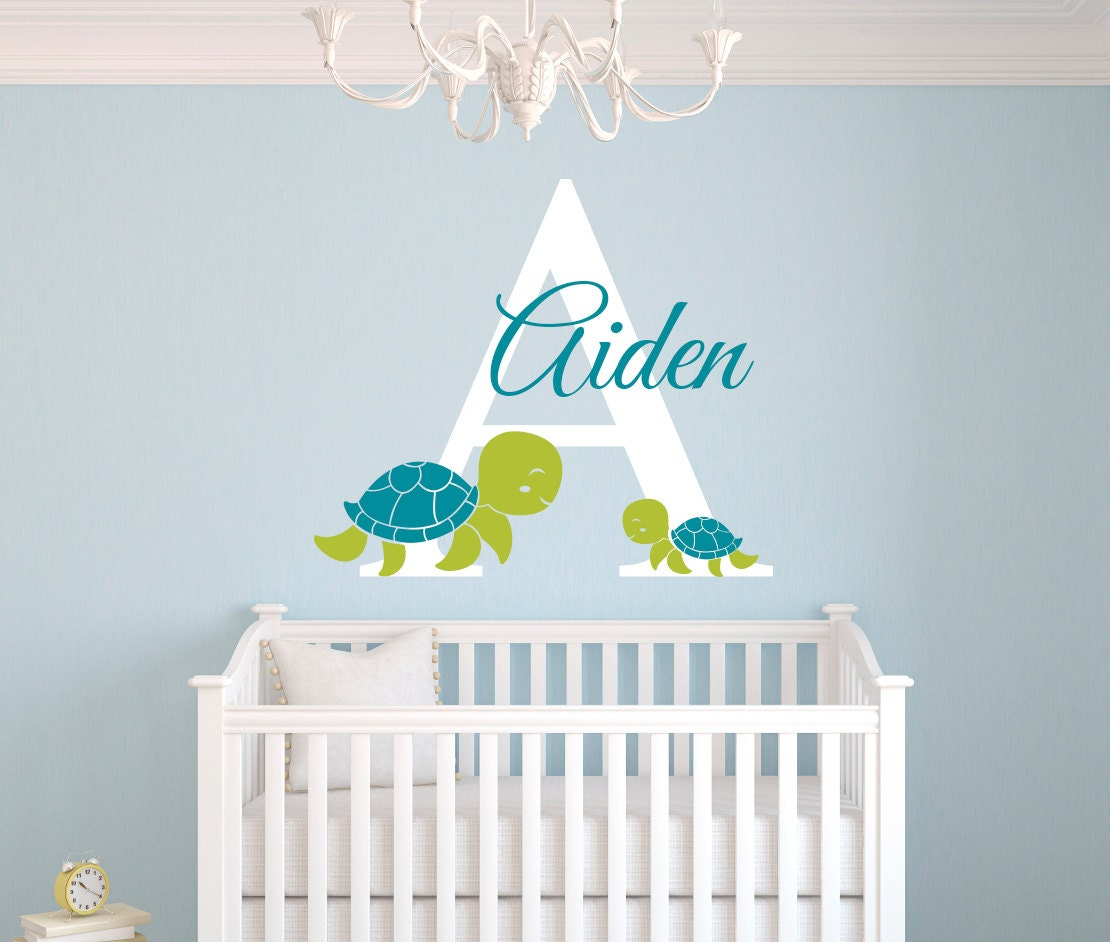 Etsy Personalized Wall Decor : Personalized name wall decal turtles boy custom