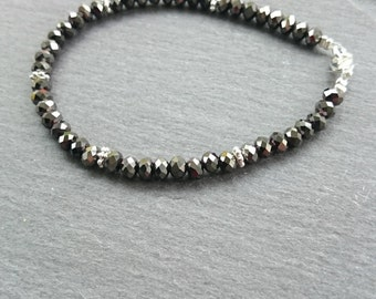 Gunmetal grey faceted glass beaded bracelet