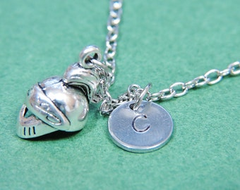 Silver Spartan Charm Necklace with Personalized Hand Stamped Initial Letter A-Z, Customized, Silver Monogram Charms Necklace