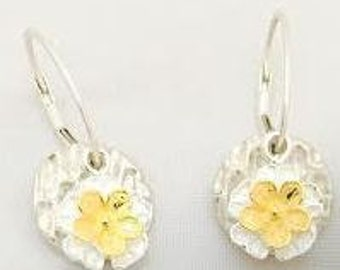 Hand made fine silver earrings with sterling silver flower