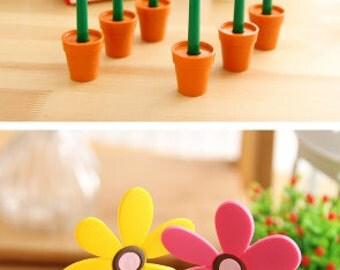 Pen - Sunny Flower with Pots - Ballpoint Pen (2pcs) | Flower Pot Pen | Plant Lovers | Nature Kawaii Stationery | Funky Stationery