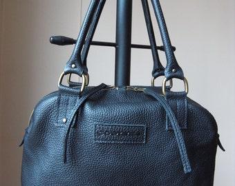 Genuine Leather Bag  Black Color, zippered, Shoulder Bag, Shopping Bag, Handbag