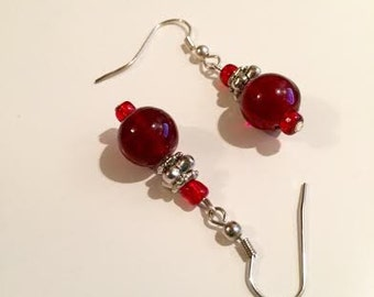 Red glass,earrings,silver beads,red glass beads,seed beads,hook earrings,dangle earrings,drop earrings,handmade,beaded,jewelry,unique,wire