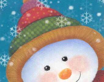 Snowman Face, Jolly Snowman Painting, Snowman Art Print, Art Print for Kids