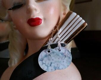 Hydrangea Earrings, Flower Earrings, Victorian Art Print Earrings, Jewelry Art Earrings