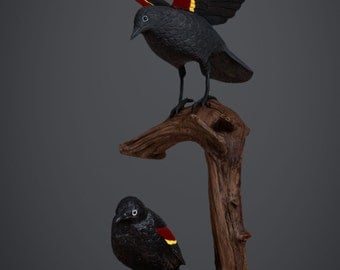 Red Winged Blackbirds - Life size wood carving