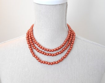 Long copper color pearl necklace, Beaded jewelry, Perfect for Christmas gift, birthday, valentine, mother day, mom necklace, for daughter
