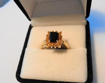 Iolite & Sapphires in 14karat gold Ring