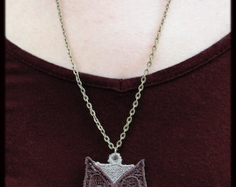 Owl Lace Boho Pendant Necklace Embroidered  Embroidery Chain