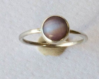 Sterling Silver ring , Cat eye stone ring , Simple ring , rose stone