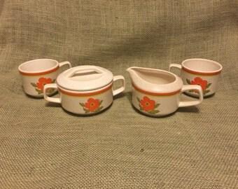 Vintage Lenox Temper-Ware Fire Flower - Coffee Set:  Sugar Bowl, Creamer and 2 Coffee Cups