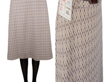 St Michael 70s Deadstock 'A' Line Diamond Patterned Mid Length Skirt Cream with Beige & Brown Diamonds UK 10