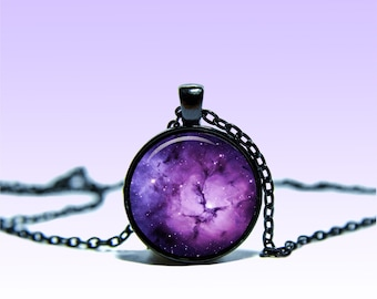 Trifid Nebula Black Pendant NECKLACE Black Red Jewelery Charm Pendant for Him or Her